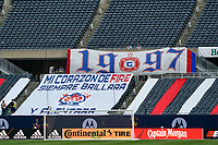 CHICAGO, UNITED STATES - AUGUST 25: A general view of some Chicago Fire banners is seen during a game between FC Cincinnati and Chicago Fire at Soldier Field on August 25, 2020 in Chicago, Illinois.