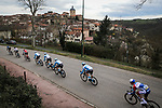 The peloton lined out during Stage 5 of the 78th edition of Paris-Nice 2020, running 227km from Gannat to La Cote-Saint-Andre, France. 12th March 2020.<br /> Picture: ASO/Fabien Boukla | Cyclefile<br /> All photos usage must carry mandatory copyright credit (© Cyclefile | ASO/Fabien Boukla)