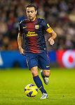 VALLADOLID, SPAIN - DECEMBER 22:  Xavi Hernandez of FC Barcelona runs with the ball during the La Liga game between Real Valladolid and FC Barcelona at Jose Zorrilla on December 22, 2012 in Valladolid, Spain. Photo by Victor Fraile / The Power of Sport Images