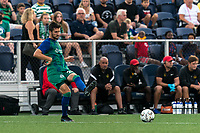 HARTFORD, CT - AUGUST 17: Thomas Janjigian #20 of Hartford Athletic passes the ball during a game between Charleston Battery and Hartford Athletic at Dillon Stadium on August 17, 2021 in Hartford, Connecticut.