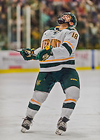 20 February 2016: University of Vermont Catamount Defenseman Alexx Privitera, a Senior from Old Tappan, NJ, expresses himself after narrowly missing an open part of the net in the second period against the Boston College Eagles at Gutterson Fieldhouse in Burlington, Vermont. The Eagles defeated the Catamounts 4-1 in the second game of their weekend series. Mandatory Credit: Ed Wolfstein Photo *** RAW (NEF) Image File Available ***