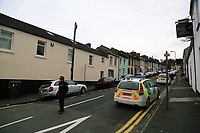 Pictured: A police cordon at West Street, Newport, south Wales, UK. Wednesday 20 September 2017<br />