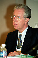 Mario Monti, European Commissioner for Competition ,<br /> adress the medias after taking part in a forum on International Mergers and Acquisitions, at the 8 th Conference of Montreal, June 28, 2002 in Montreal, CANADA<br /> <br /> <br /> <br /> PHOTO : Agence Quebec Presse