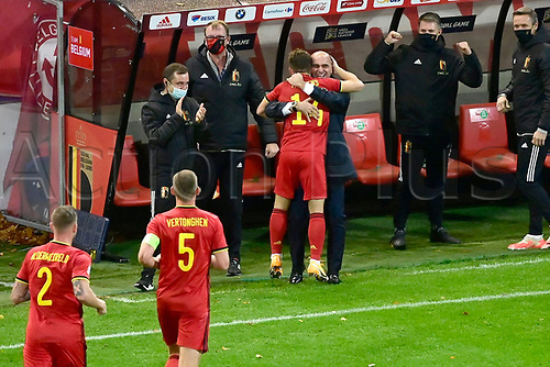 15th November 2020; Leuven, Belgium;   Dries Mertens forward of Belgium celebrates scoring a goal with Roberto Martinez head coach of Belgian Team during the UEFA Nations League match group stage final tournament - League A - Group 2 between Belgium and England
