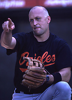Cal Ripken,jr of the Baltimore Orioles during a 2001 season MLB game at Angel Stadium in Anaheim, California. (Larry Goren/Four Seam Images)