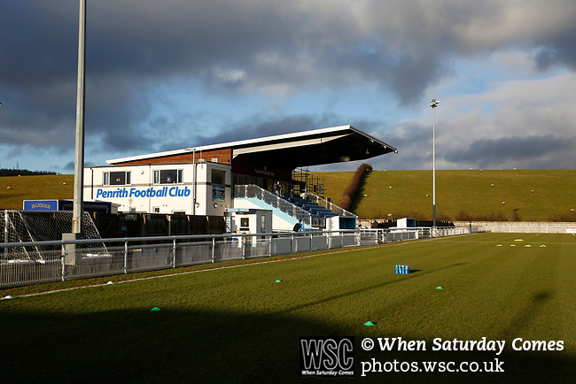 The main stand at Frenchfield Park. Penrith AFC V Hebburn Town, Northern League Division One, 22nd December 2018. Penrith are the only Cumbrian team in the Northern League. All the other teams are based across the Pennines in the north east.<br /> Penrith, winless at kick off, lost a thriller 3-4, in front of 100 people. They won five games all season, but were reprieved from relegation following Blyth's resignation from the league.