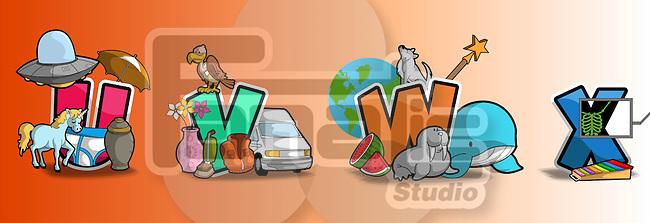 Illustration of UVWX against brown background