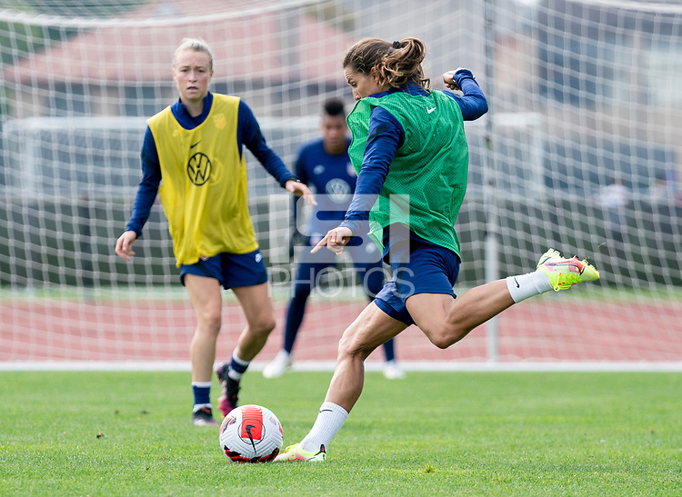 CLEVELAND, OH - SEPTEMBER 14: Tobin Heath of the United States takes a shot during a training session at the training fields on September 14, 2021 in Cleveland, Ohio.