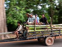Different types of transportation near Angkor Wat, Cambodia