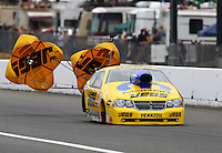 Aug. 3, 2013; Kent, WA, USA: NHRA funny car driver Jeg Coughlin Jr during qualifying for the Northwest Nationals at Pacific Raceways. Mandatory Credit: Mark J. Rebilas-USA TODAY Sports