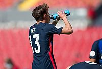 GUADALAJARA, MEXICO - MARCH 18: Sam Vines #13 of the United States hydrating during a game between Costa Rica and USMNT U-23 at Estadio Jalisco on March 18, 2021 in Guadalajara, Mexico.