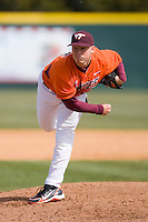 Relief pitcher Austin Wates #21 of the Virginia Tech Hokies follows through on his delivery against the Wake Forest Demon Deacons at English Field March 27, 2010, in Blacksburg, Virginia.  Photo by Brian Westerholt / Four Seam Images