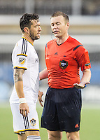 Foxborough, Massachusetts - May 31, 2015:  The New England Revolution (blue/white) drew with LA Galaxy (white) n-n in a Major League Soccer (MLS) match at Gillette Stadium.