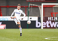 10th January 2021; Broadfield Stadium, Crawley, Sussex, England; English FA Cup Football, Crawley Town versus Leeds United; Kalvin Phillips of Leeds united controls a high pass