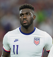 DALLAS, TX - JULY 25: Daryl Dike #11 of the United States during a game between Jamaica and USMNT at AT&T Stadium on July 25, 2021 in Dallas, Texas.
