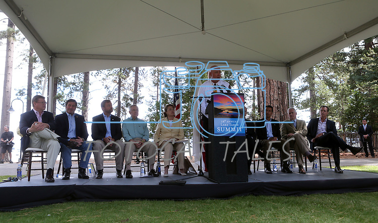 North Lake Tahoe Fire Protection District Fire Chief Mike Brown speaks at the 18th annual Lake Tahoe Summit at the Valhalla Estate in South Lake Tahoe, Ca., on Tuesday, Aug. 19, 2014.  <br /> Photo by Cathleen Allison