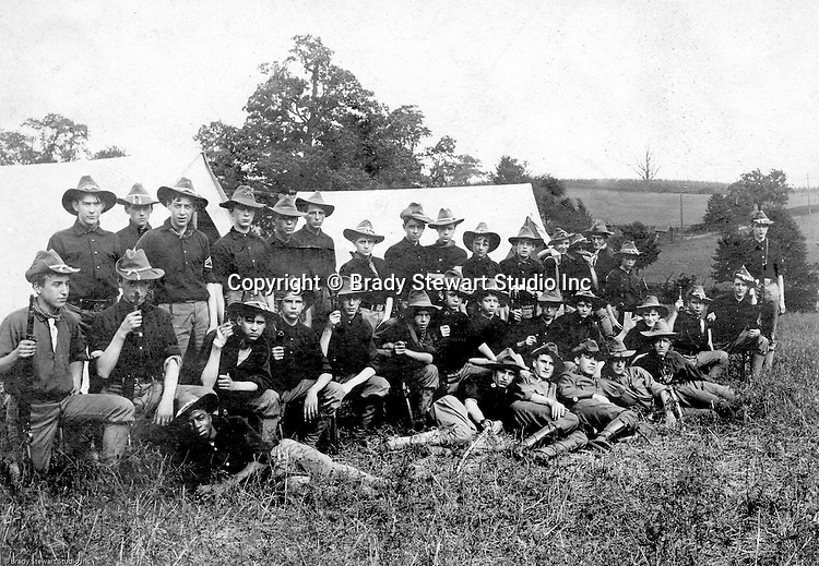 Gettysburg PA: View of the McKeesport Boy's Brigade posing for a photograph while camping at Gettysburg. Brady Stewart was in Gettysburg with the Pittsburgh-area Boy's Brigade. They were in Gettysburg for the 40th anniversary of the battle of Gettysburg. The Boy's Brigade was a church-based youth organization started in the late 1800s in Scotland.