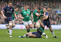 Saturday 10th March 2018 |  Ireland vs Scotland<br /> <br /> Cian Healy is tackled by Huw Jones during the NatWest 6 Nations clash between Ireland and Scotland at the Aviva Stadium, Lansdowne Road, Dublin, Ireland. Photo by John Dickson / DICKSONDIGITAL