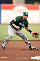Daytona Tortugas third baseman Taylor Sparks (12) fields a ground ball during a game against the Tampa Yankees on April 24, 2015 at George M. Steinbrenner Field in Tampa, Florida.  Tampa defeated Daytona 12-7.  (Mike Janes/Four Seam Images)