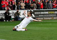 Pictured: Stephen Dobbie celebrates his goal <br /> Swansea City FC (white) V Nottingham Forest (red) Championship play off semi final, second leg. Liberty Stadium Swansea 16/05/11<br /> Picture by: Ben Wyeth  / Athena Picture Agency<br /> info@athena-pictures.com