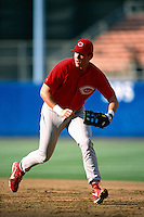 Sean Casey of the Cincinnati Reds participates in a Major League Baseball game at Dodger Stadium during the 1998 season in Los Angeles, California. (Larry Goren/Four Seam Images)