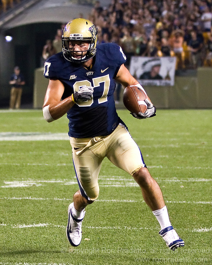 Pitt wide receiver Mike Shanahan. The Pittsburgh Panthers beat the Buffalo Bulls 35-16 at Heinz field in Pittsburgh, Pennsylvania on September 3, 2011