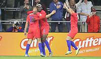 ORLANDO, FL - NOVEMBER 15: Gyasi Zardes #9 of the United States scores a goal and celebrates with Jordan Morris #11 and his USMNT teammates during a game between Canada and USMNT at Exploria Stadium on November 15, 2019 in Orlando, Florida.