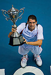 Guillermo Garcia-Lopez of Spain poses with the trophy after winning the singles final match against Jarkko Nieminen of Finland during the Day 9 of the PTT Thailand Open at Impact Arena on October 3, 2010 in Bangkok, Thailand. Photo by Victor Fraile / The Power of Sport Images