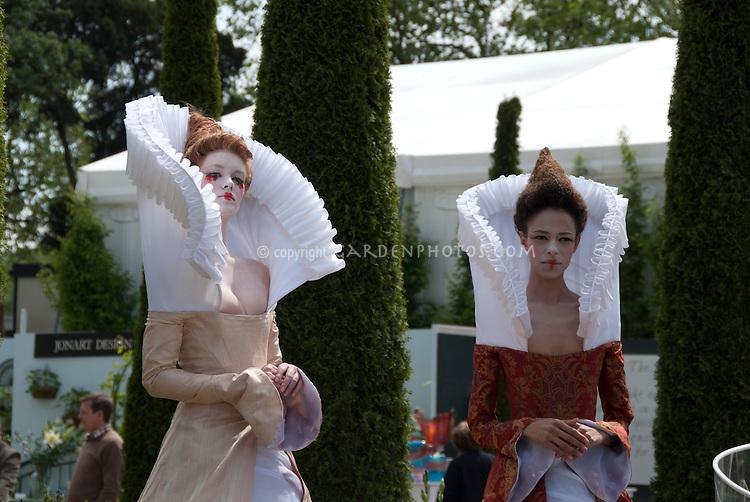 Elaborate Elizabethan collar worn by model