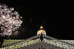 Israel, Lower Galilee, fireworks over the Church of the Annunciation in Nazareth