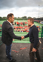 BNPS.co.uk (01202) 558833. <br /> Pic: DanPitmanPhotography/BNPS<br /> <br /> Pictured: Guy cuts the ribbon to open the new pitch. <br /> <br /> Hollywood director Guy Ritchie was the unlikely guest of honour at the opening of a community football pitch in a small market town.<br /> <br /> The Lock, Stock and Two Smoking Barrels director signed autographs and chatted with parents and children at the unveiling of the £500,000 artificial pitch in Shaftesbury, Dorset.<br /> <br /> The local team, Shaftesbury FC, are stocking his 'Gritchie' beer made at his brewery in Ashmore, five miles away.