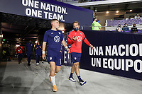 ORLANDO CITY, FL - JANUARY 31: Chris Mueller #11 of the United States makes his way out to warm up before a game between Trinidad and Tobago and USMNT at Exploria stadium on January 31, 2021 in Orlando City, Florida.