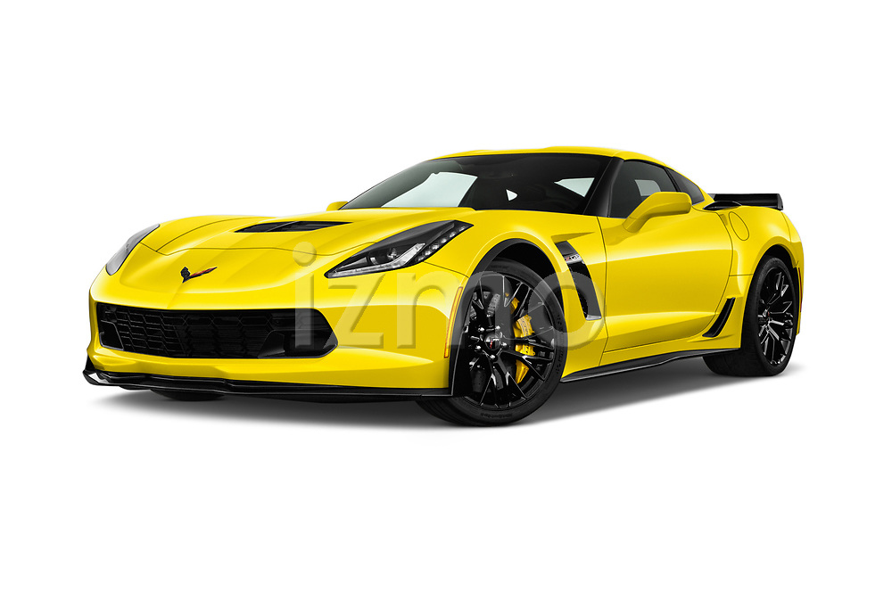 Stock pictures of low aggressive front three quarter view of a 2019 Chevrolet Corvette Z06 Coupe 1LZ 3 Door Targa