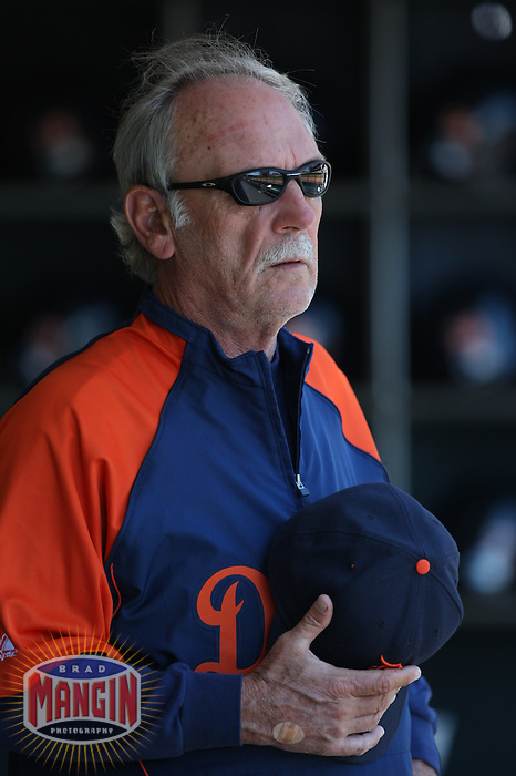SAN FRANCISCO - JUNE 18:  Manager Jim Leyland of the Detroit Tigers gets ready in the dugout before the game against the San Francisco Giants at AT&T Park in San Francisco, California on June 18, 2008.  The Tigers defeated the Giants 7-2.  Photo by Brad Mangin