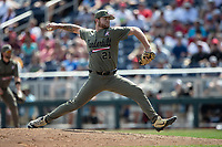 Vanderbilt Commodores pitcher Tyler Brown (21) delivers a pitch to the plate during Game 3 of the NCAA College World Series against the Louisville Cardinals on June 16, 2019 at TD Ameritrade Park in Omaha, Nebraska. Vanderbilt defeated Louisville 3-1. (Andrew Woolley/Four Seam Images)