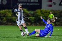 Charleroi midfielder Ludmila Matavkova (9) and Genk's Fleur Pauwels (66) pictured during a female soccer game between Sporting Charleroi and KRC Genk Ladies on the 9th matchday of the 2020 - 2021 season of Belgian Scooore Womens Super League , friday 11 th of December 2020  in Marcinelle , Belgium . PHOTO SPORTPIX.BE | SPP | STIJN AUDOOREN