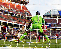 CLEVELAND, OH - JUNE 22: Aaron Long #23 heads the ball for a goal during a game between the United States and Trinidad & Tobago at FirstEnergy Stadium on June 22, 2019 in Cleveland, Ohio.
