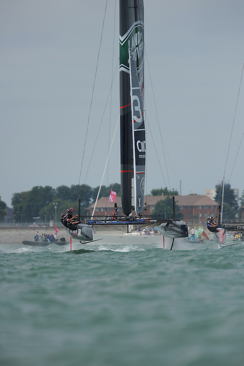 Land Rover BAR, JULY 24, 2016 - Sailing: Land Rover BAR leads the fleet to the mark during day two of the Louis Vuitton America's Cup World Series racing, Portsmouth, United Kingdom. (Photo by Rob Munro/Stewart Communications)
