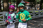 July 25, 2020: Ricardo Santana, Jr.walks to the paddocke before race 5 on Stakes on Alfred G Vanderbilt  Day at Saratoga Race Course in Saratoga Springs, New York. Rob Simmons/Eclipse Sportswire/CSM