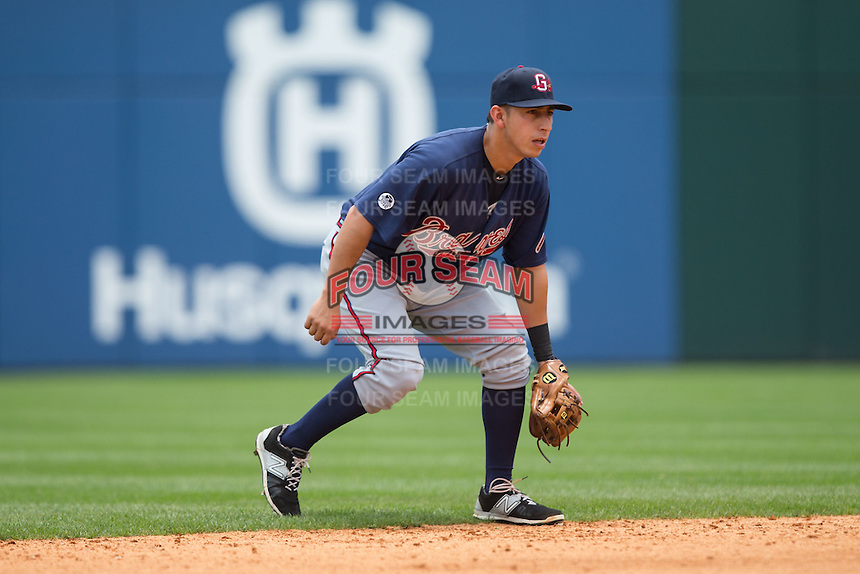 Gwinnett Braves shortstop Daniel Castro (2) on defense against the Charlotte Knights at BB&T BallPark on July 3, 2015 in Charlotte, North Carolina.  The Braves defeated the Knights 11-4 in game one of a day-night double header.  (Brian Westerholt/Four Seam Images)