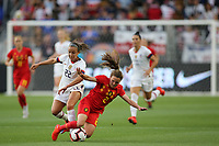 Los Angeles, CA - Sunday April 07, 2019: The women's national teams of the United States (USA) and Belgium during an international friendly match at Banc of California Stadium.