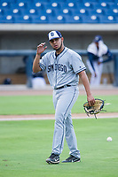 AZL Padres 2 starting pitcher Ramon Perez (16) walks off the field between innings of the game against the AZL Brewers on September 2, 2017 at Maryvale Baseball Park in Phoenix, Arizona. AZL Brewers defeated the AZL Padres 2 2-0. (Zachary Lucy/Four Seam Images)