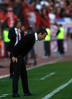Head coach Aleksandar Stanojevic, react during the Serbian League soccer match in Belgrade, Serbia, Saturday, October  24, 2010. (Srdjan Stevanovic/Starsportphoto.com)