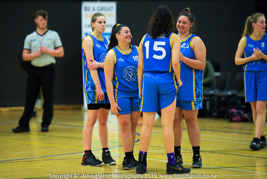 Action from the 2019 Schick A Girls' Secondary Schools Basketball Premiership National Championship match between Greymouth High School and Tararua College at the Central Energy Trust Arena in Palmerston North, New Zealand on Monday, 30 September 2019. Photo: Dave Lintott / lintottphoto.co.nz