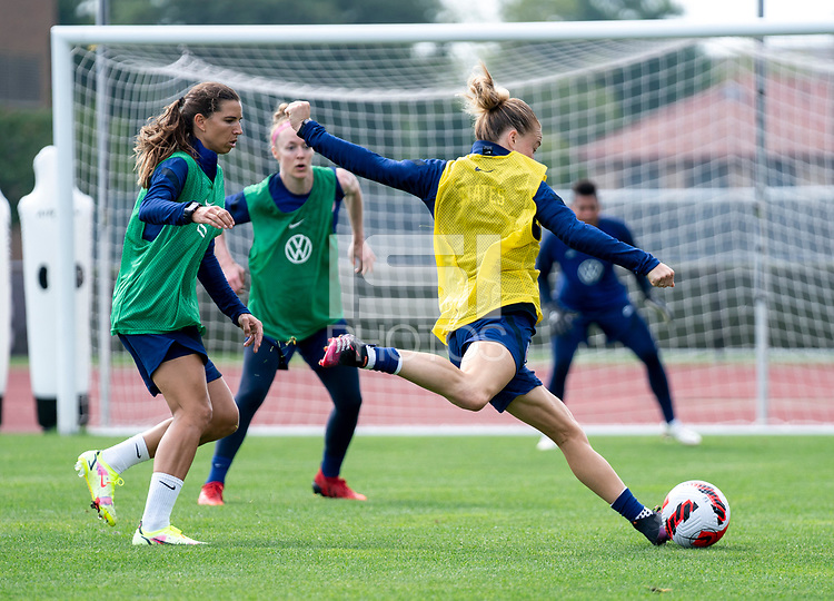 CLEVELAND, OH - SEPTEMBER 14: Emily Sonnett of the United States takes a shot during a training session at the training fields on September 14, 2021 in Cleveland, Ohio.