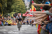 Maximilian Schachmann (GER/Bora Hansgrohe) up the crowdy Wijnpers<br /> <br /> Men Elite – Road Race (WC)<br /> Race from Antwerp to Leuven (268.3km)<br /> <br /> ©kramon