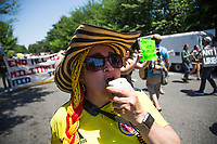 Washington D.C., USA - June 05: A woman takes part  during a large protest with banners and music in Washington, D.C. on June 5, 2021. The protests continue after five weeks while the government and the strike committee cannot reach an agreement. The Duque government and the National Committee did not reach an agreement and protests continue in Colombia. The protesters demand demilitarization while the government insists on an end to the blockades. (Photo by Pablo Monsalve / VIEWpress via Getty Images)