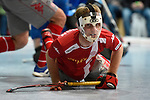 Mannheim, Germany, January 24: During the 1. Bundesliga Herren Hallensaison 2014/15 quarter-final hockey match between Mannheimer HC (white) and Club an der Alster (red) on January 24, 2015 at Irma-Roechling-Halle in Mannheim, Germany. Final score 2-3 (1-2). (Photo by Dirk Markgraf / www.265-images.com) *** Local caption *** Jojo Persoon #5 of Club an der Alster