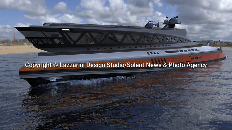 WITH VIDEO<br /> <br /> A team of designers have revealed their incredible new £450 million mega-yacht concept inspired by Roman architecture.  The 501ft (153m) long 'Prodigium' has pools on three different levels and on the top deck the lounge area is surrounded by impressive marble columns.<br /> <br /> The palatial vessel combines the civilised ancient design with modern 'toys' and luxuries and has room for three helicopters and eight jet skis.  With its 34 meter width the unique and stylish yacht is also the widest boat ever conceived but is still capable of reaching a crushing speed of around 22 knots.  SEE OUR COPY FOR DETAILS.<br /> <br /> Please byline: Lazzarini Design Studio/Solent News<br /> <br /> © Lazzarini Design Studio/Solent News & Photo Agency<br /> UK +44 (0) 2380 458800