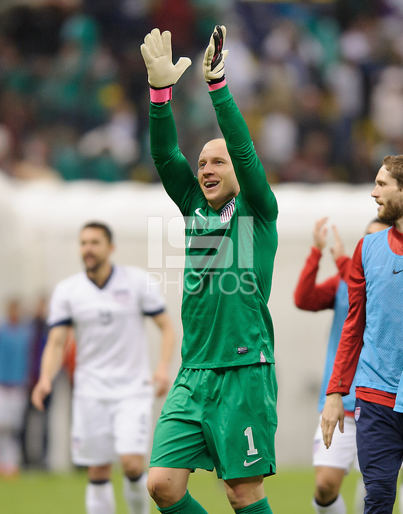 Mexico City, Mexico -Tuesday, March 26 2013: USA ties Mexico 0-0 during World Cup Qualifying at Estadio Azteca. Brad Guzan celebrates after the match.